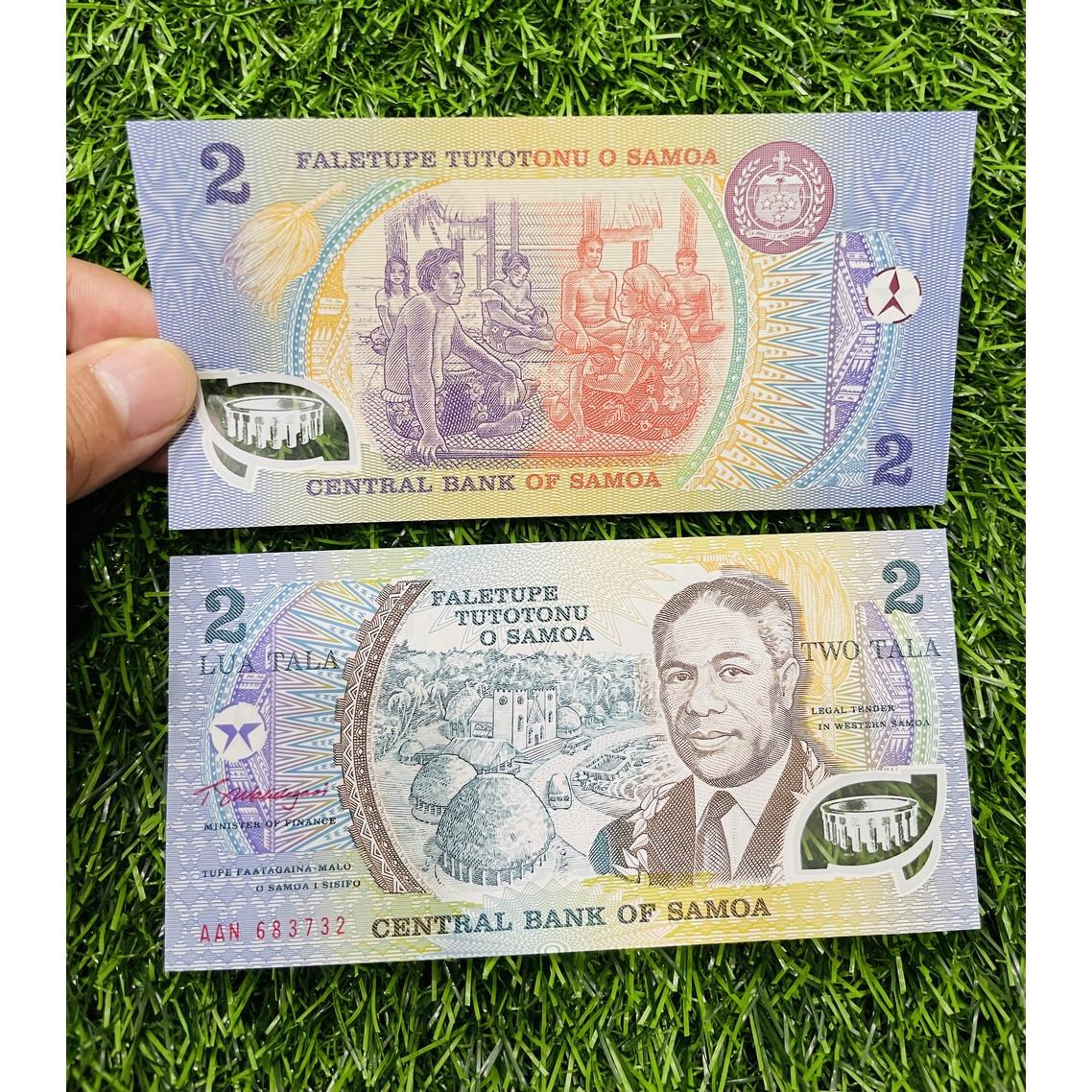 Tiền Samoa 2 Dollar, chất liệu polyme, sưu tầm tiền xưa đảo quốc Thái Bình Dương, mới 100% UNC, tặng túi nilon bảo quản