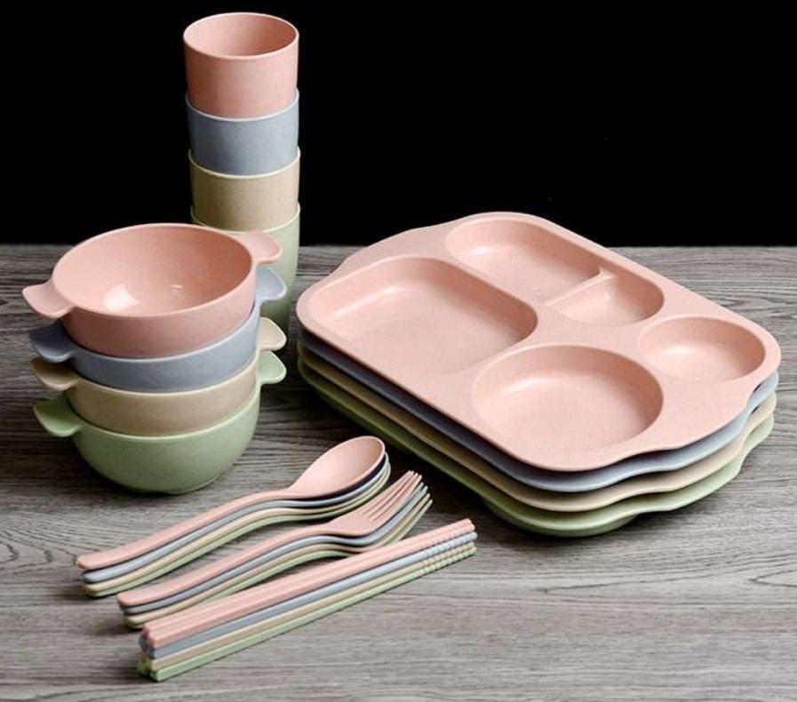 Bộ khay đựng đồ ăn 6 món (khay, ly, bát, thìa, nĩa, đũa)  bằng lúa mạch dễ thương, tiện dụng - màu giao ngẫu nhiên