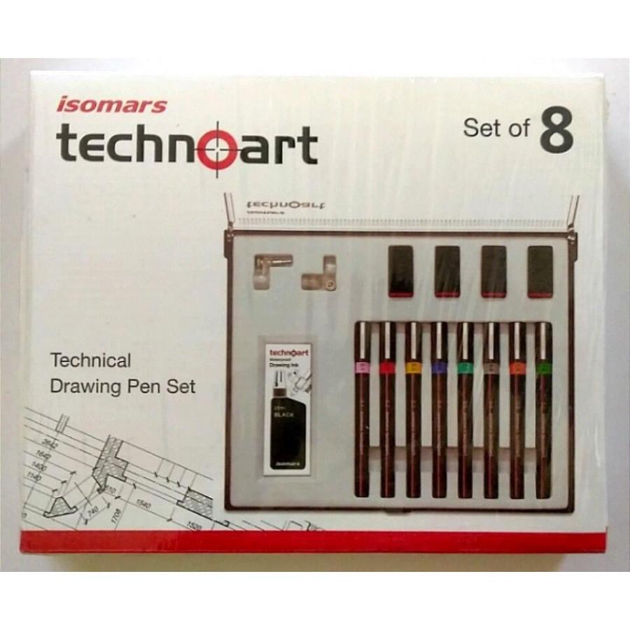 Bộ Bút Vẽ Kỹ Thuật  ISOMARS Technoart Drawing Set Of 8