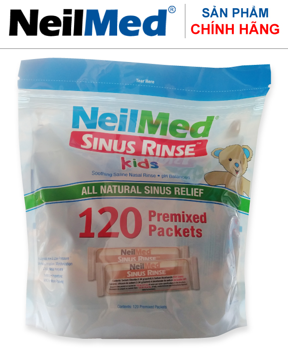 Combo Baby SinusCare: Bộ Rửa, Vệ Sinh Mũi Xoang Trẻ Em NeilMed Sinus Rinse Kids - SX Mỹ(1 Bình + 30 gói muối và 1 Hộp 120 gói muối rửa bổ sung)