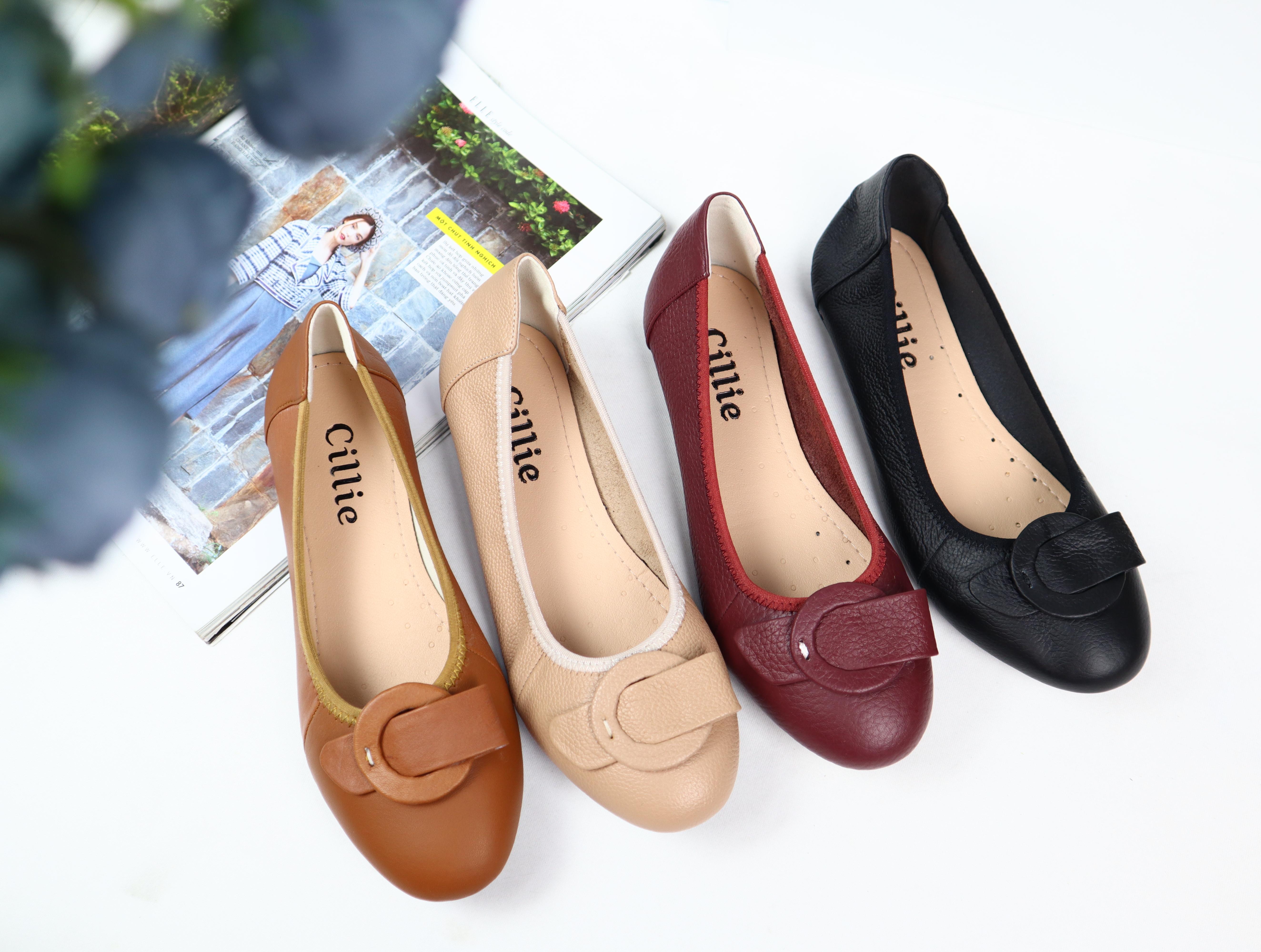 Giày búp bê đế bệt da bò Cillie 1091