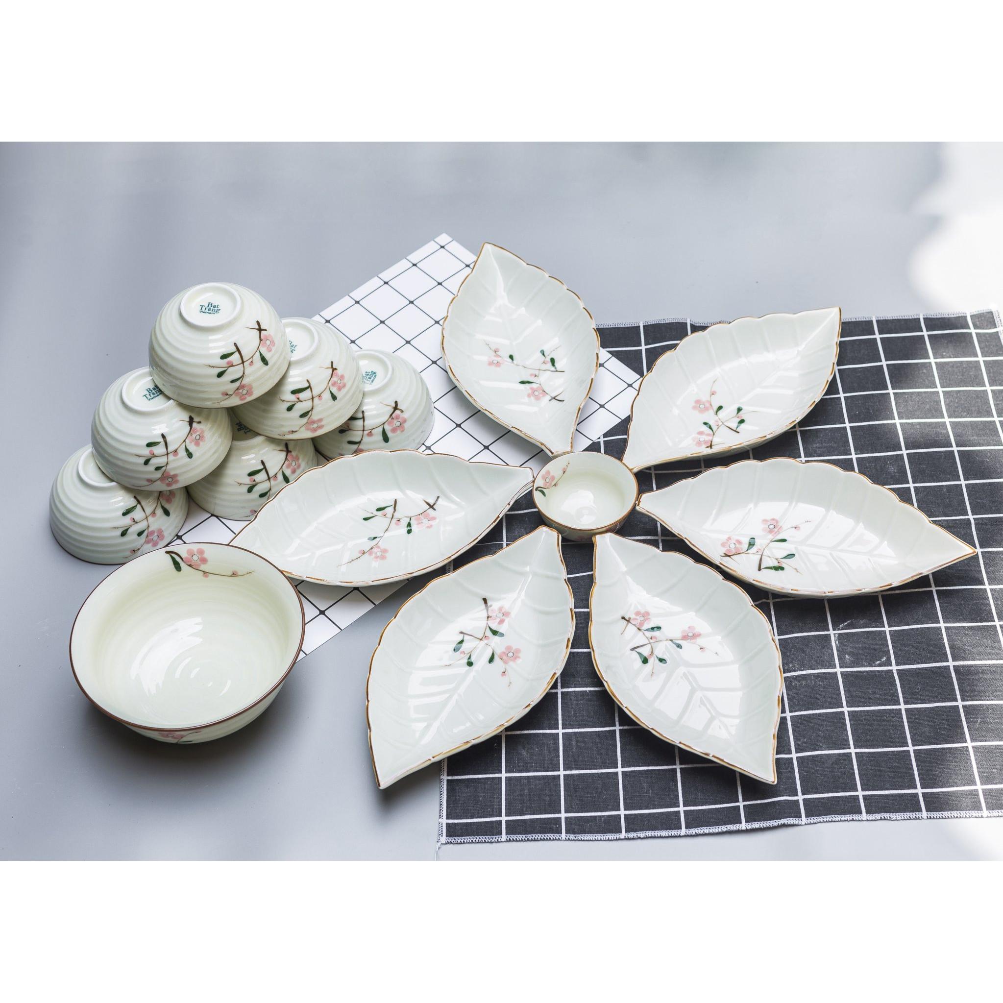 Bộ sản phẩm đồ ăn vẽ hoa đào hồng gốm sứ Bát Tràng( 14 món)
