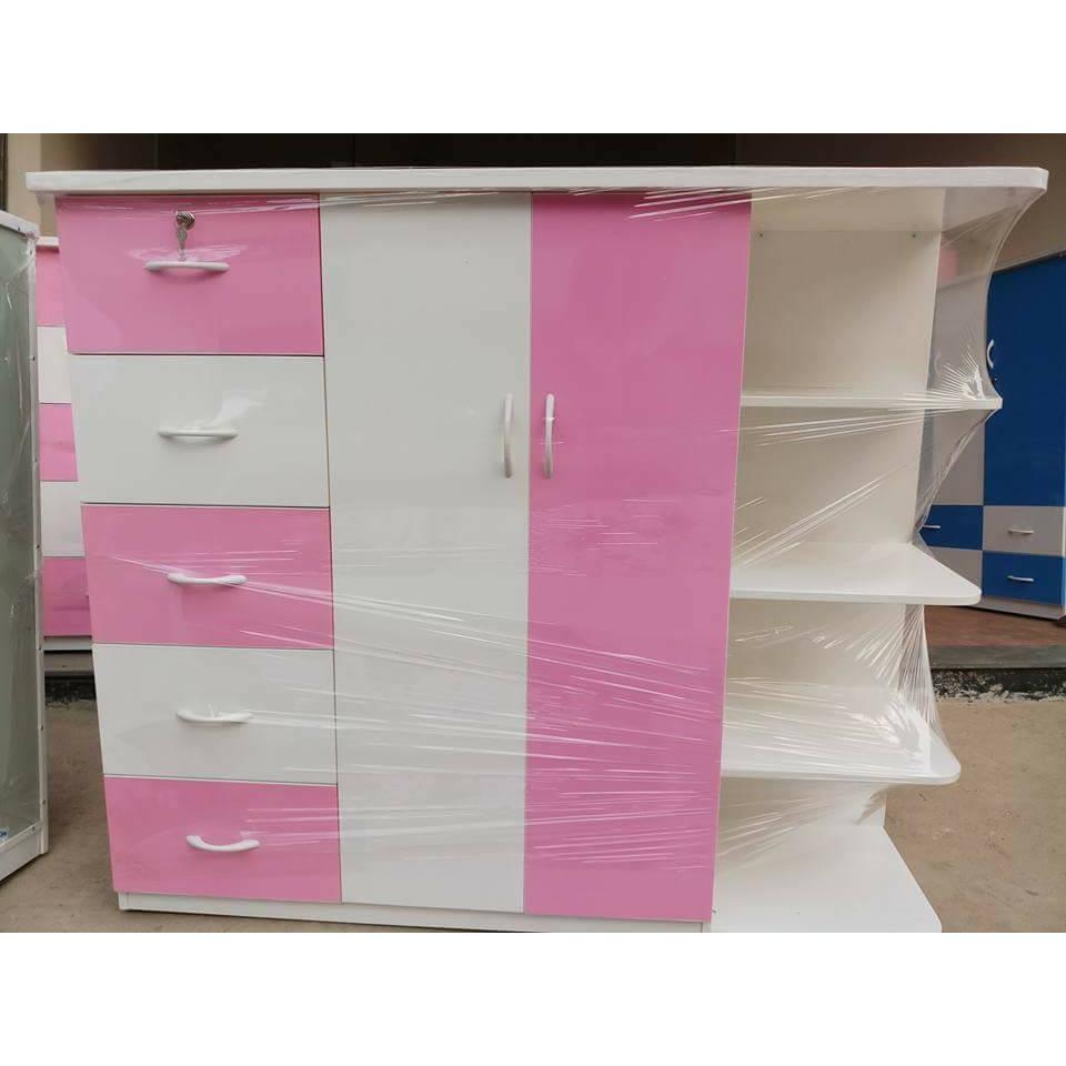 Tủ nhựa đài loan 2 cánh 5 ngăn kéo có kệ trang trí V523