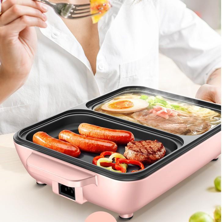 Nồi lẩu nướng hồng ngoại 2 ngăn hồng mini đa năng phủ lớp chống dính, thiết kế gọn nhẹ, dễ sử dụng