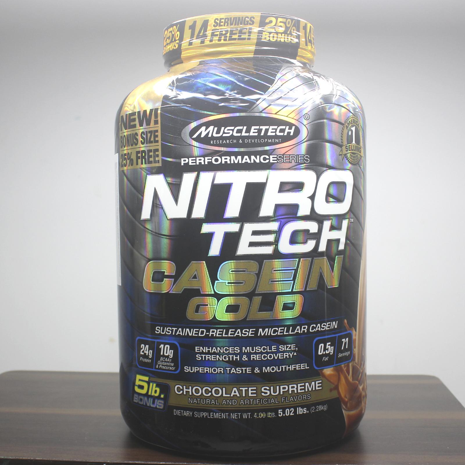 Combo Sữa tăng cơ NitroTech Casein Gold của MuscleTech hộp 71 lần dùng hỗ trợ duy trì protein cho cơ suốt 8 tiếng & Bình INOX 739ml (Mẫu ngẫu nhiên)