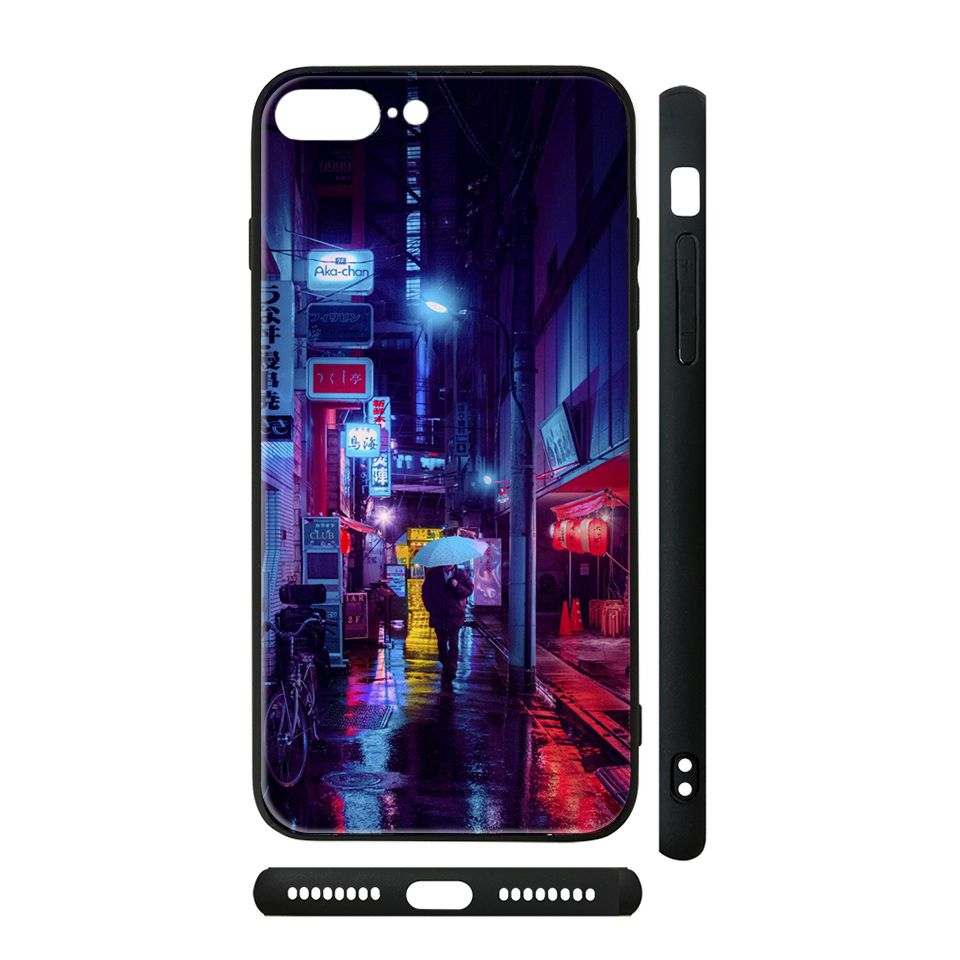 Ốp kính cho iPhone in hình Tokio về đêm - tkvd4 có đủ mã máy - iPhone 7 Plus - 8 Plus