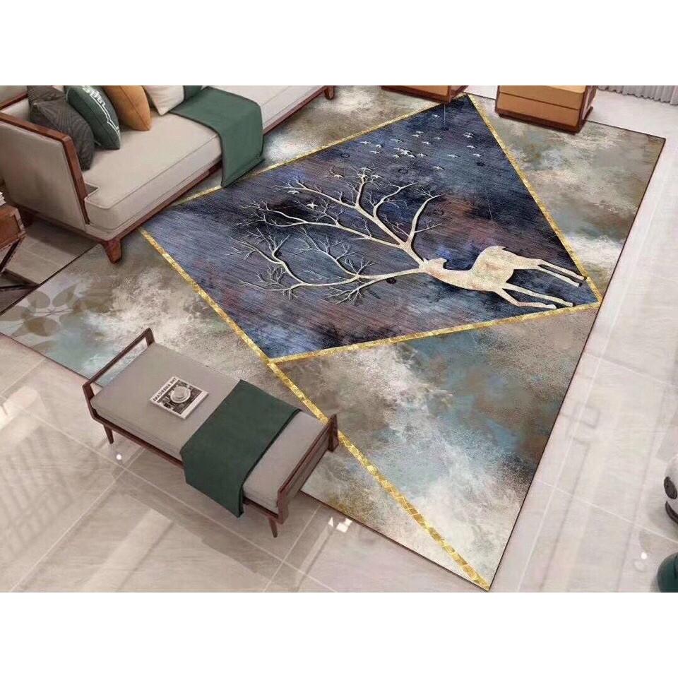 Thảm trải sàn Sofa sang trọng hiện đại trang trí phòng khách Bali in 3D Nhung nỉ lì cao cấp BL76 - hươu kẻ