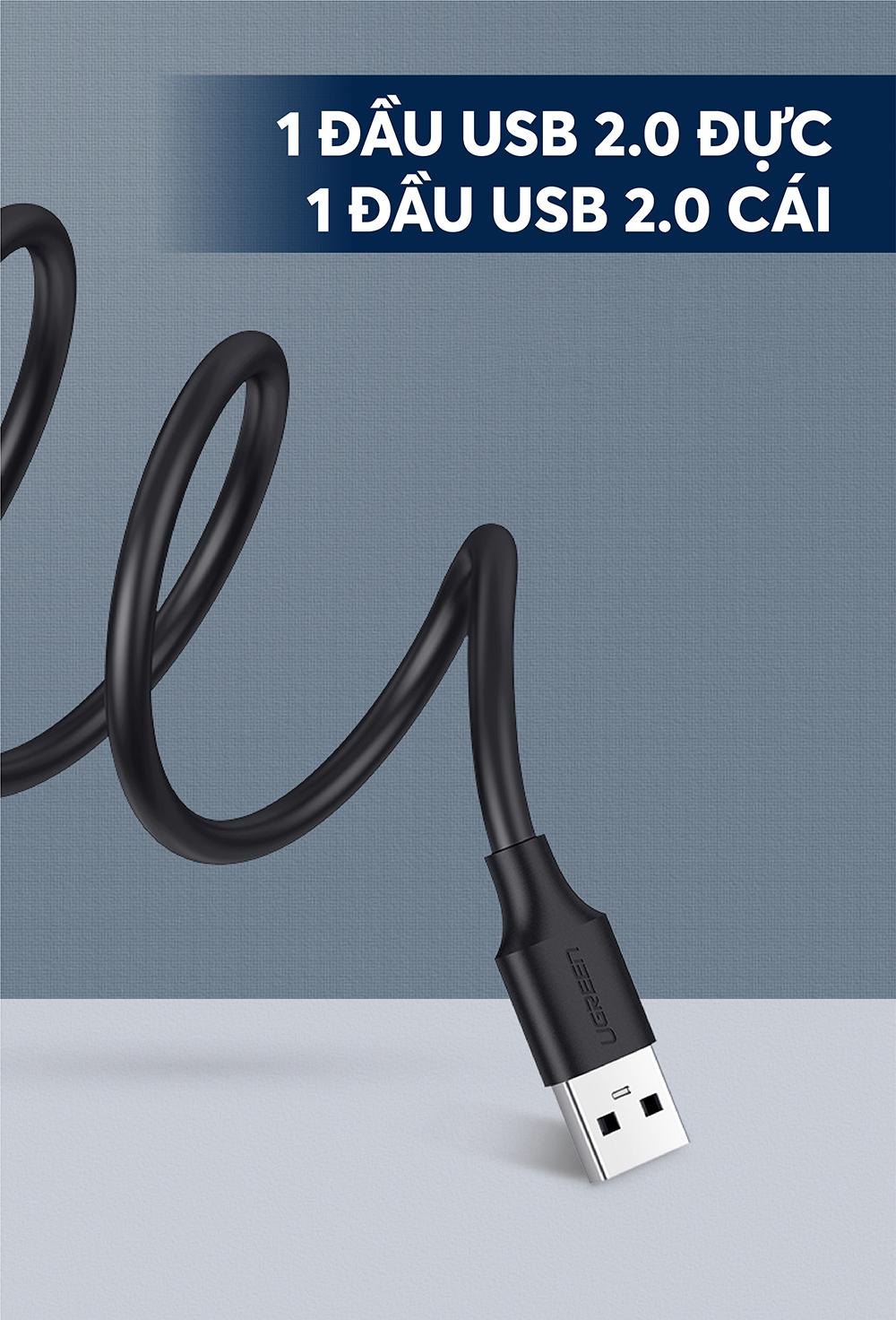 Dây nối dài USB 2.0 (1 đầu đực, 1 đầu cái) dài 1m UGREEN US103 10314 - Hàng chính hãng
