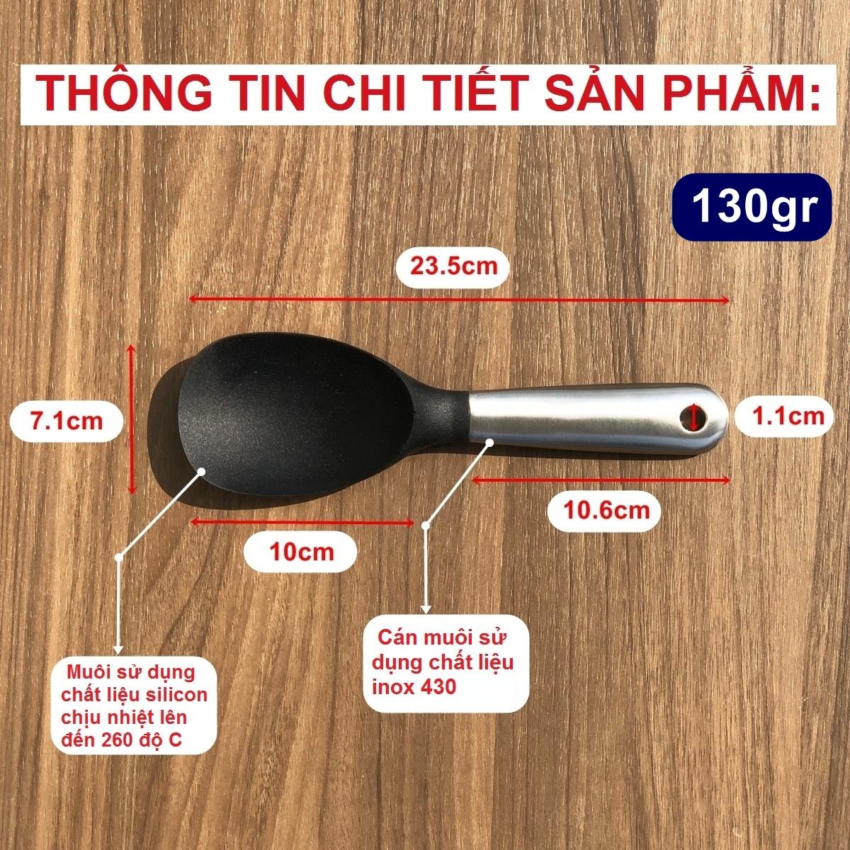 Muỗng silicon DandiHome cao cấp chịu nhiệt cực tốt dùng để nấu ăn