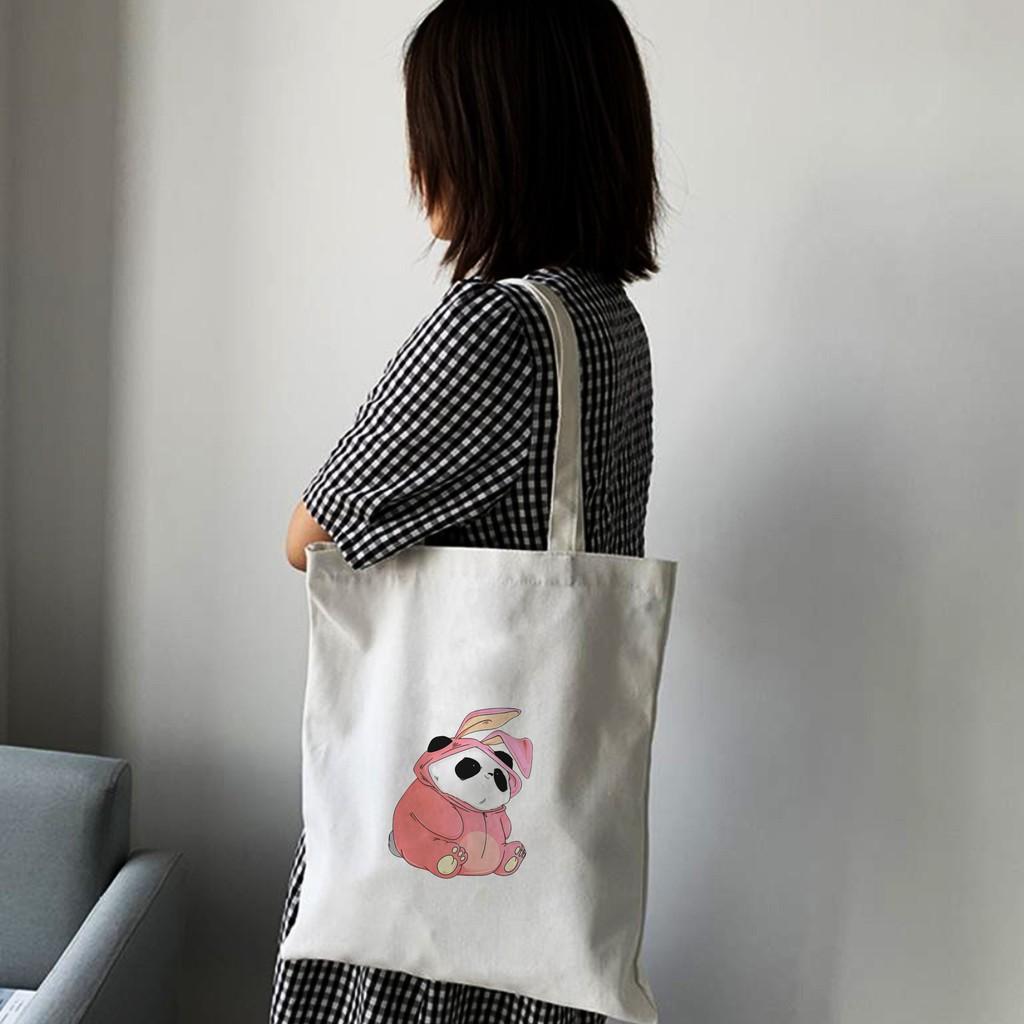 Túi Vải Tote Đeo Vai Đi Học Đi Làm Đi Chơi Hình GẤU PANDA SIÊU DỄ THƯƠNG - Túi Canvas Du Lịch Thời Trang mã TA053