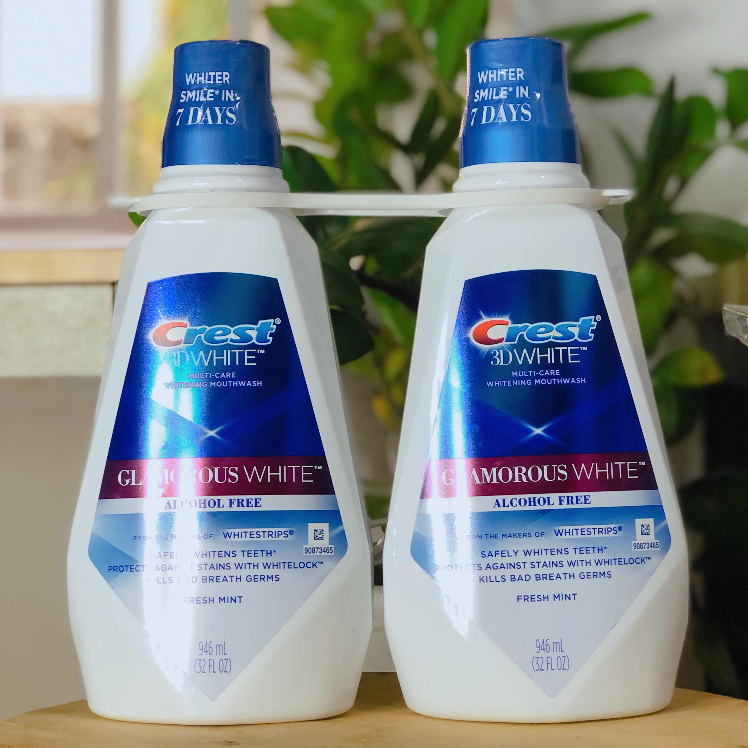 Combo 2 chai nước súc miệng Crest 3D Glamorous White 946ml