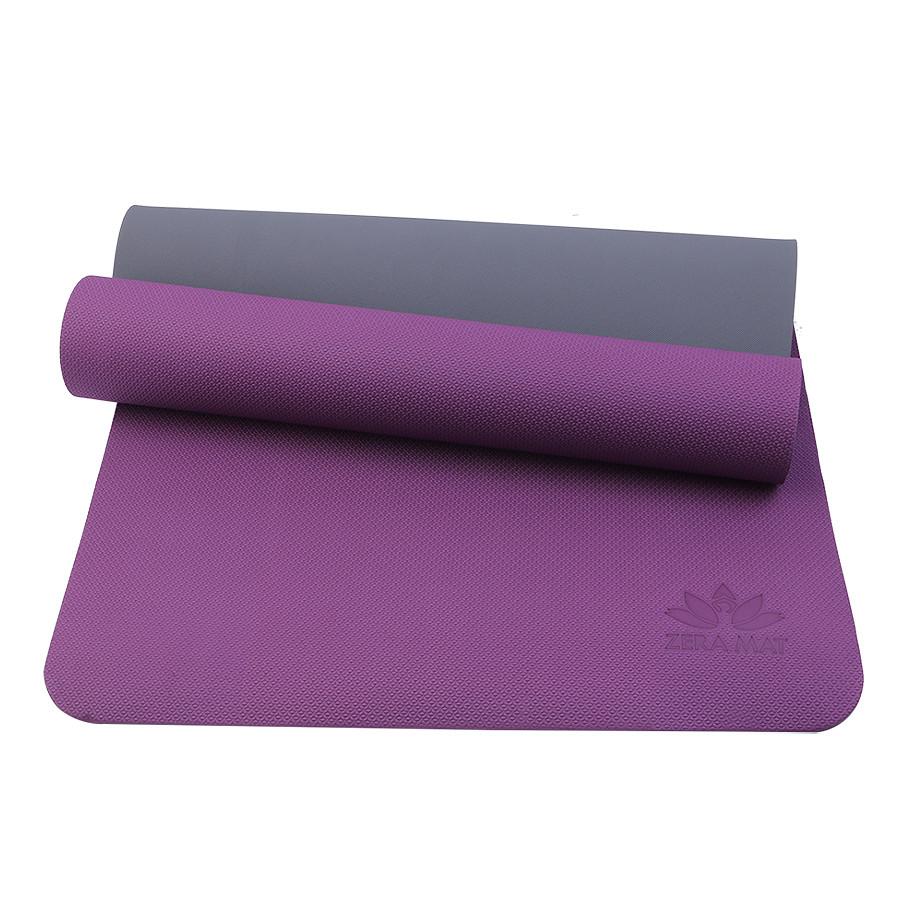 Thảm tập yoga trẻ em Happy Kid Zera TPE 2 lớp 6mm - Tím đậm