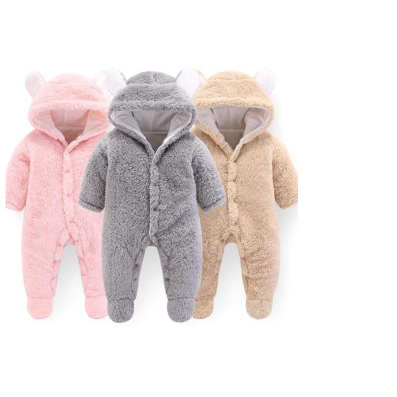 (ĐỦ 6 MẪU) Body lông cừu chần bông tai gấu cho bé lông dài dày ấm áp