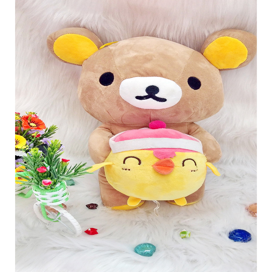 Gấu bông RILAKUMA ÔM GÀ CƯỜI