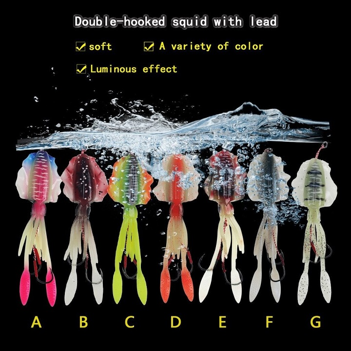 Mồi mưc giả câu cá biển kích thước 15cm x 60g có gắn 2 lưỡi jig head, mồi mềm câu lure cá biển cá ngừ cá bống mú cá chẽm tráp cá nhồng măng cực nhạy – GIAO MÀU NGẪU NHIÊN