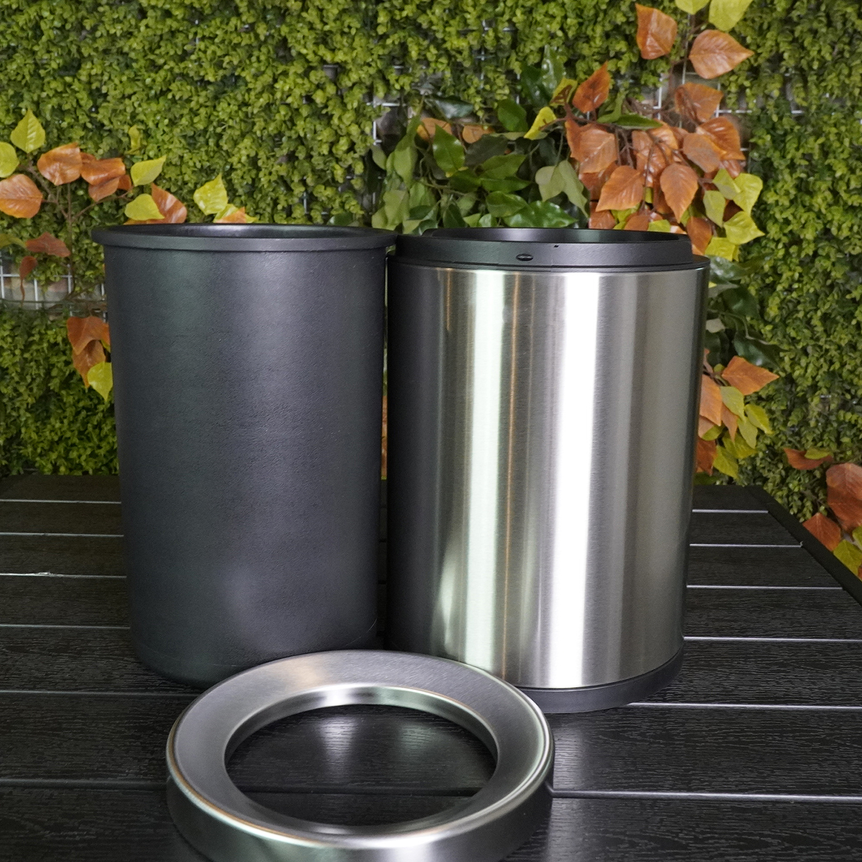 Thùng rác văn phòng inox 2 lớp không nắp phủ nano, dung tích 6 Lít và 12 Lít, Model: SF6-Y01 màu bạc