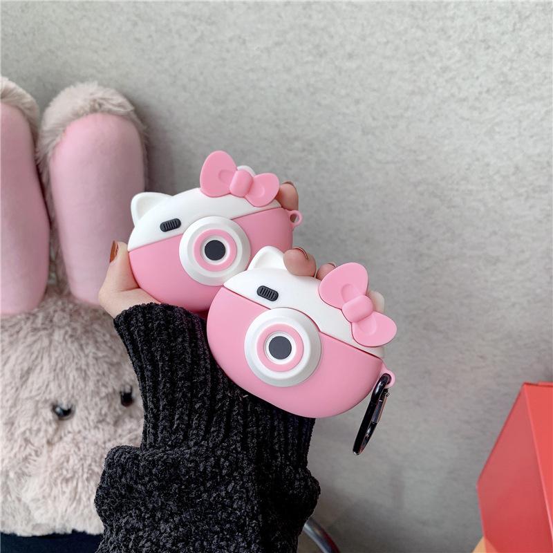 Airpods Pro Case, Bao Case Ốp Bảo vệ Cho Airpods Pro Hình Máy Ảnh Mèo Hồng