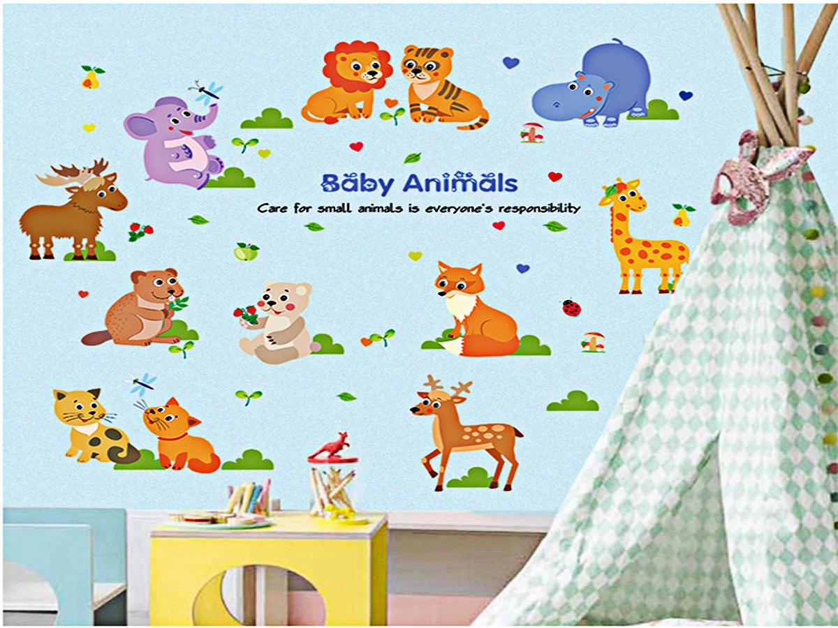 decal dán tường cho bé vòng tròn thú cưng baby animal sk9104