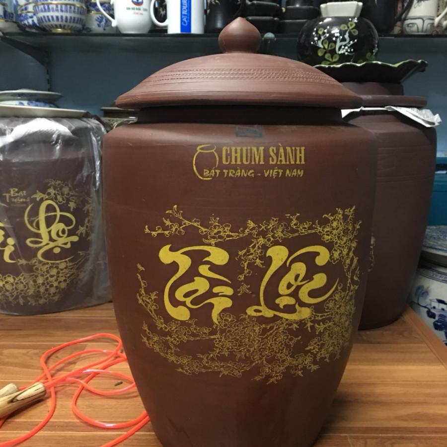 Hũ đựng gạo 15kg gốm sứ Gia Hưng Bát Tràng