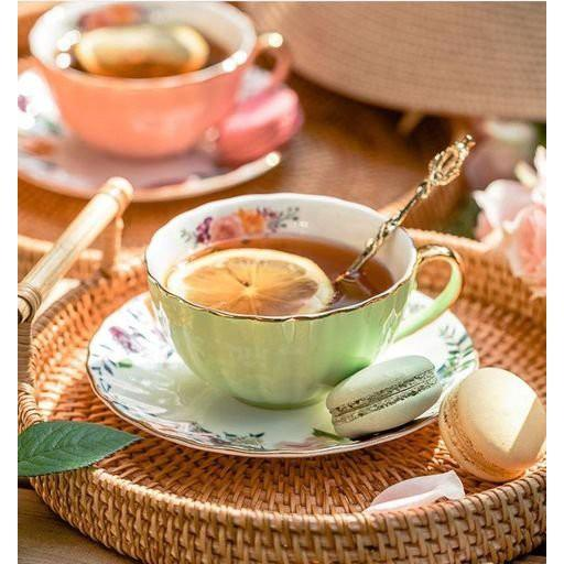 Tách trà + đĩa có thìa đi kèm phong cách Châu Âu