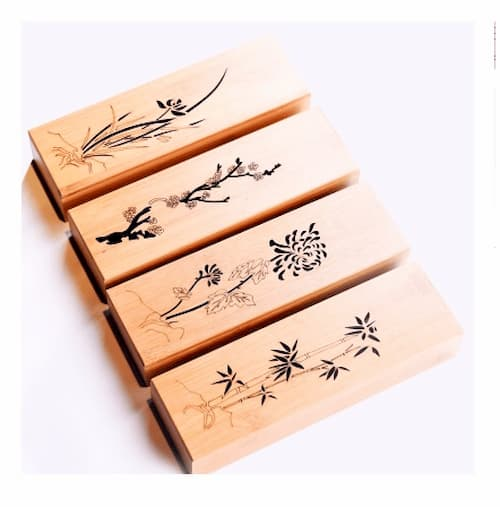 Set bút thuỷ tinh hộp gỗ + 1 mực + 1 gác cọ