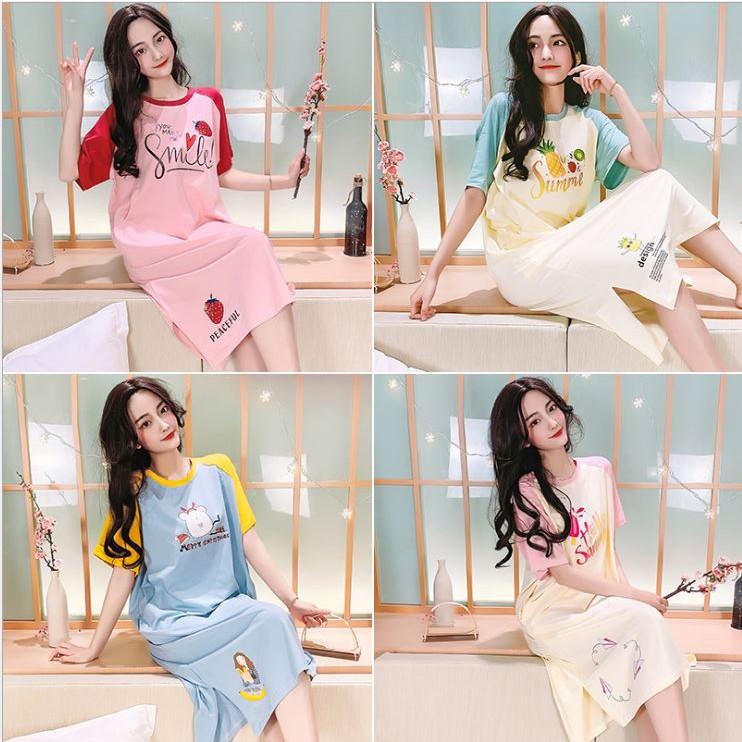Váy, Đầm Bầu Và Sau Sinh Cho Con Bú Azuno AZ10526 Chất Liệu Cotton Cao Cấp Mặc Hè Cực Mát