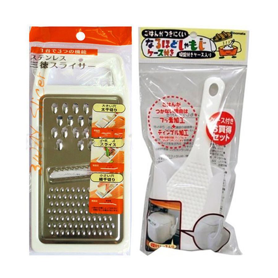 Combo Bàn nạo Inox 3 trong 1  Muôi múc cơm kèm giá đỡ tiện lợi - Nội địa Nhật Bản - 1 combo