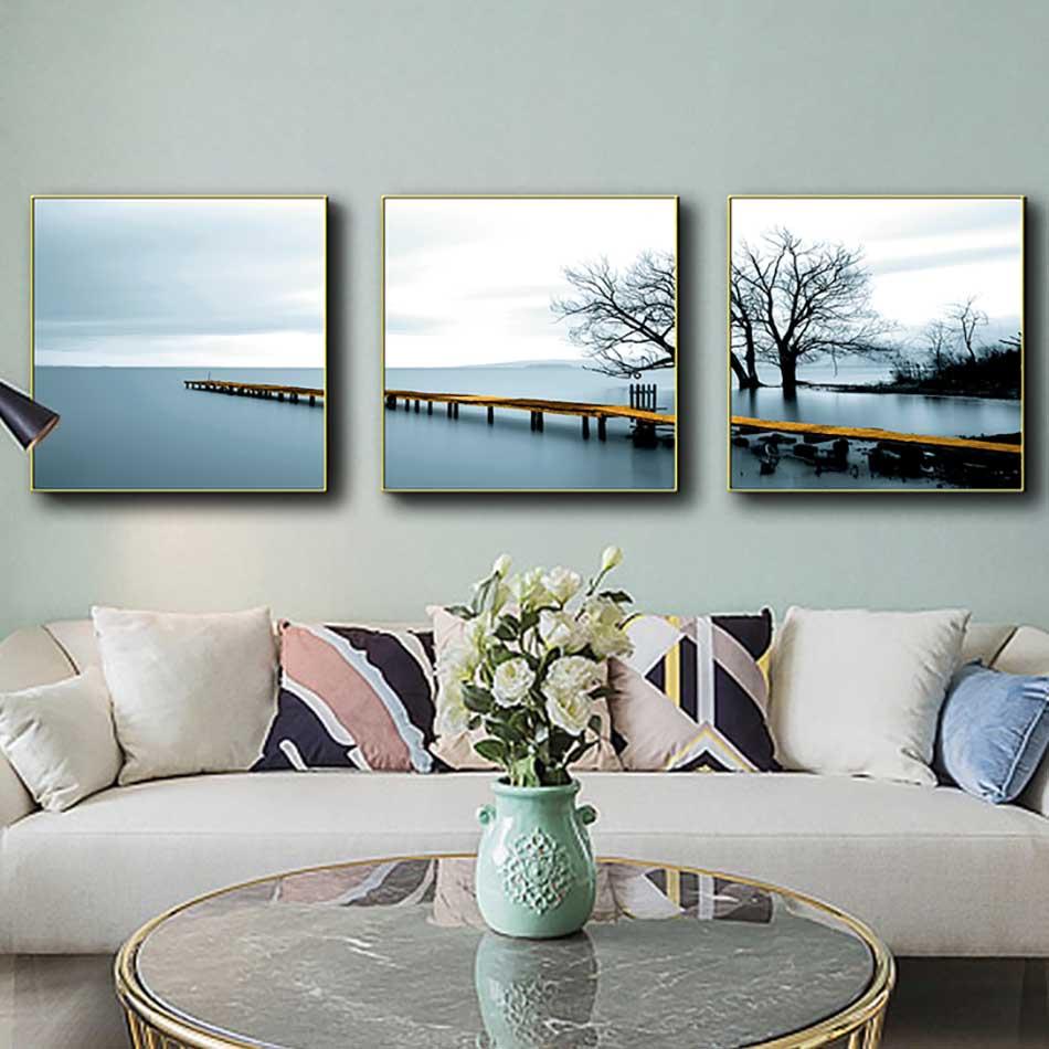 Bộ 3 tranh  canvas treo tường Decor Họa tiết cây cầu trên biển - DC210