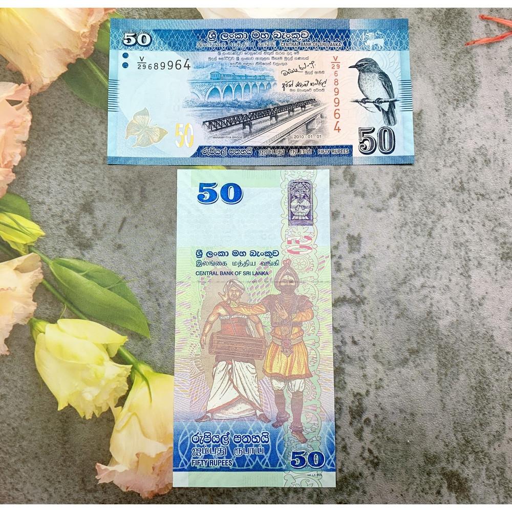Tiền cổ Sri Lanka 50 Rupees màu xanh dương hình chim , tiền quốc gia châu Á, mới 100% UNC, tặng túi nilon bảo quản