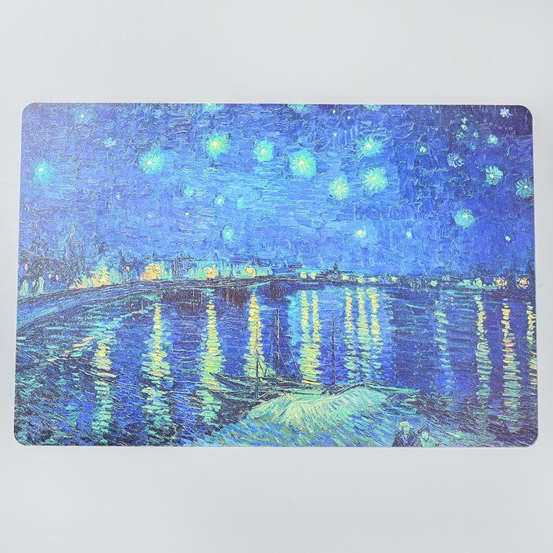 Tấm lót bàn ăn nhựa PVC chống thấm họa tiết bầu trời đầy sao trên sông Rhone 28,5x42,5cm