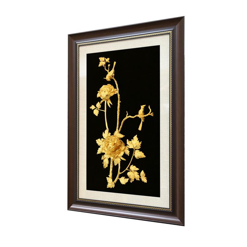 Tranh Hoa Mẫu Đơn 3D 2 bông cỡ lớn mạ vàng 24K