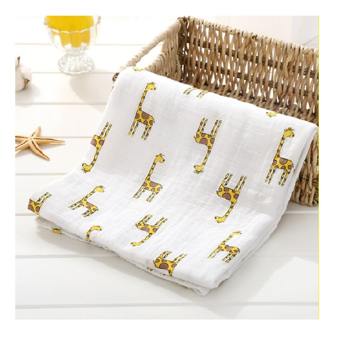 Combo 2 Khăn tắm, khăn xô hình cao cấp 4 lớp 100% COTTON cho bé 120*120cm