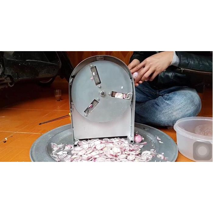 Máy thái hành quay tay + bộ dao ( máy INOX )