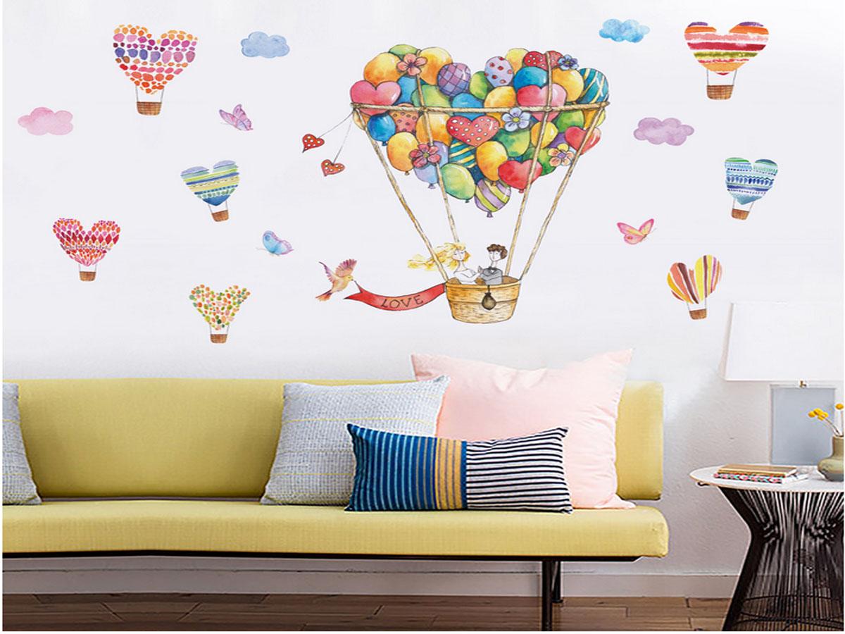 decal dán tường hoạt hình kinh khí cầu bóng bay jm7335