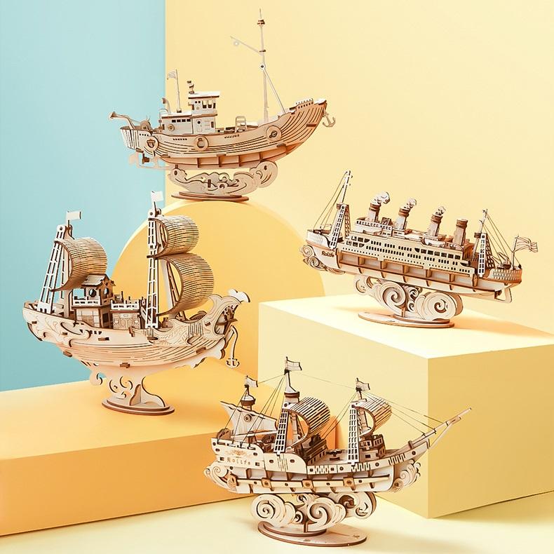 Đồ chơi lắp ráp gỗ 3D Mô hình Tàu Biển Sailing Boat