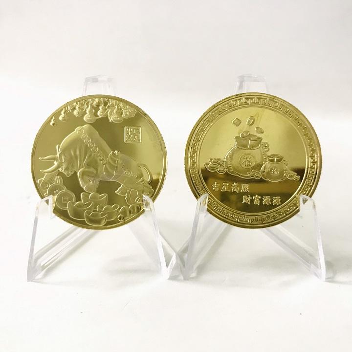 Xu lưu niệm in hình Con Trâu màu Vàng, dùng để lưu niệm, sưu tầm, quà mừng Tết,  trưng bày bàn sách, bàn làm việc, bỏ túi mang theo  - SP002457