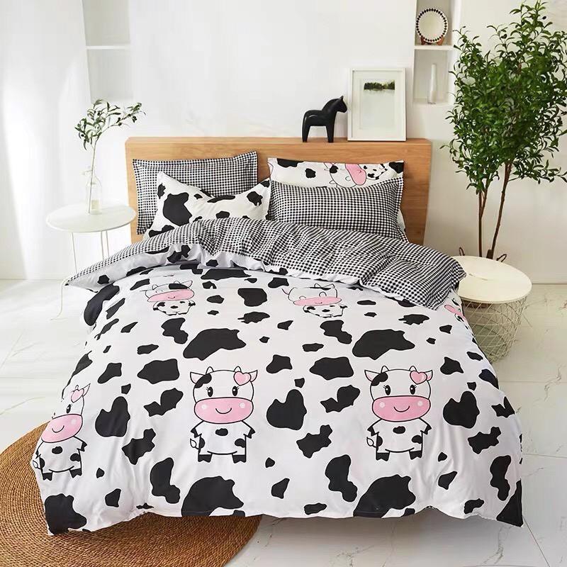 Bộ Chăn ga cotton poly Emmidecor - mẫu bò sữa trắng