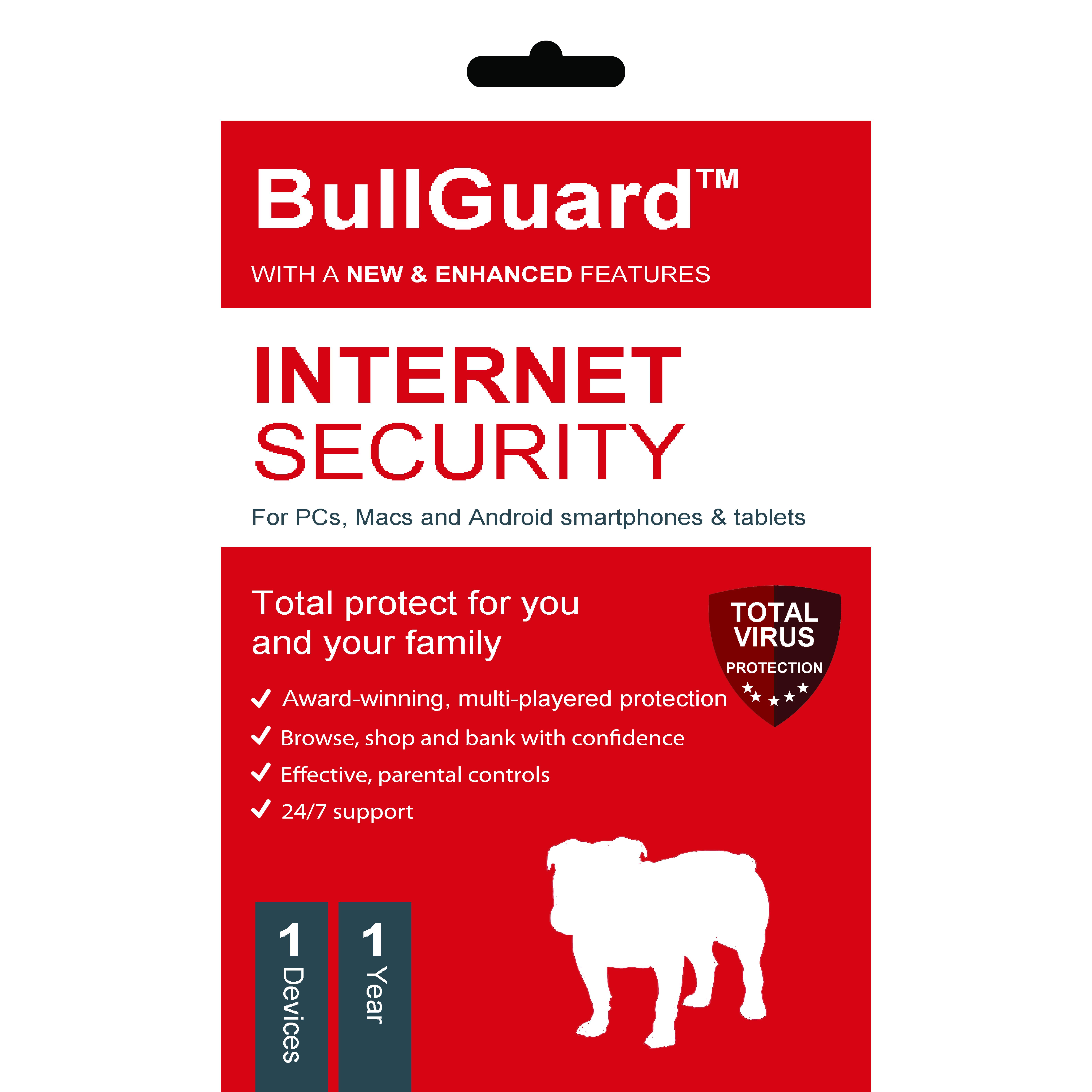 Phần mềm diệt Virus BullGuard Internet Security 1 thiết bị 1 năm - Bản quyền 1 Máy/1 Năm - Hàng Chính Hãng
