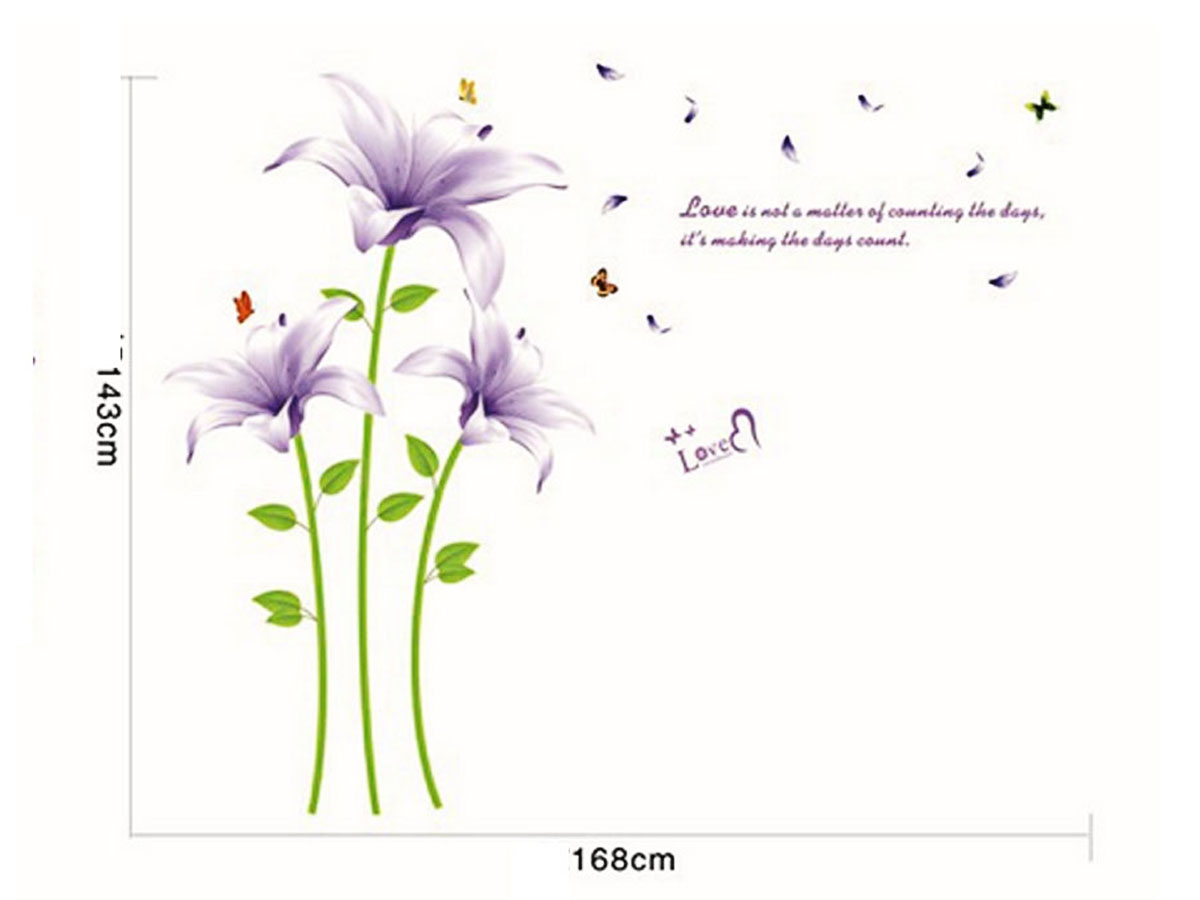 decal dán tường hoa ly tím nhạt xl8106