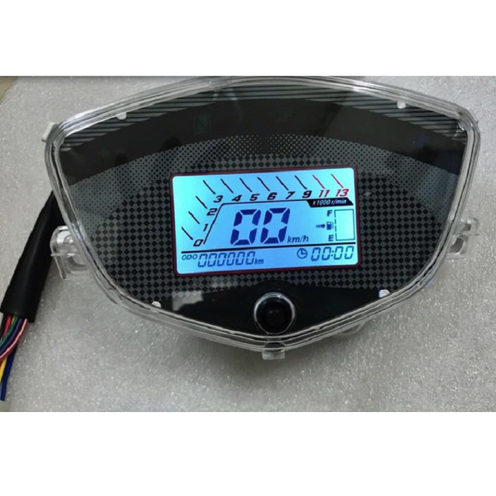 Đồng hồ điện tử 7 màu LCD gắn cho xe SIRIUS, EXCITER 2010 Có Báo Tua MáyBáo Xăng, Hiện thị giờ Đồng hồ LED đổi được 7 màu- G645