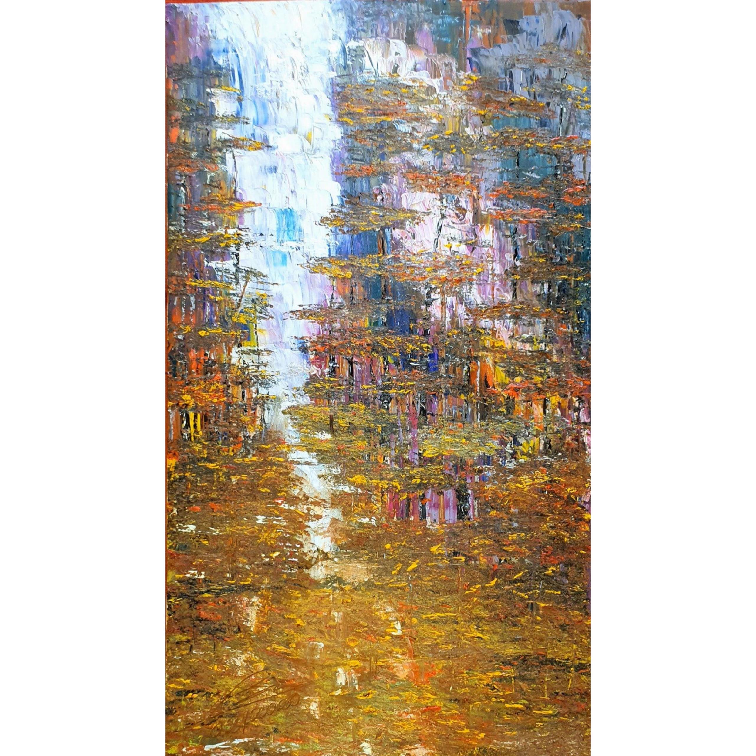 Tranh sơn dầu sáng tác vẽ tay: Suối Mơ