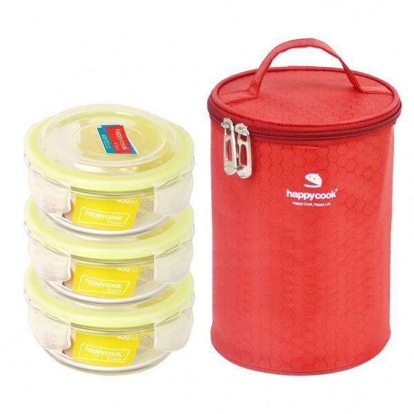 Bộ 3 Hộp Thủy Tinh Tròn 400ml Kèm Túi Happy Cook Glass HCG-03C
