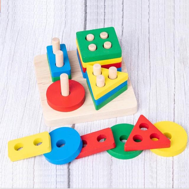 Combo 3 món đồ chơi gỗ cho bé phát triển trí tuệ GT ( Đàn gỗ, Trụ thả hình 4 cọc, tháp cầu vồng )