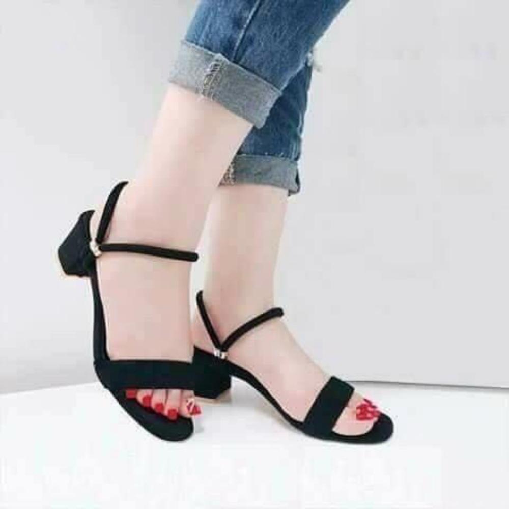 Sandal Giày Cao Nữ Đẹp Hở Mũi Chất Liệu Da Lộn Hai Kiểu Đeo Đế Vuông Cao Cấp Cao 5 Phân Phong Cách Hàn Quốc.