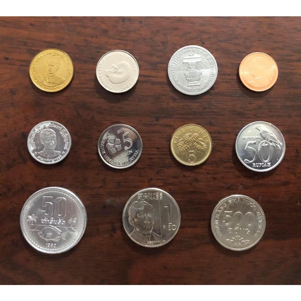 Bộ xu đầy đủ 11 quốc gia Đông Nam Á, xu mới kèm túi gấm bình an.