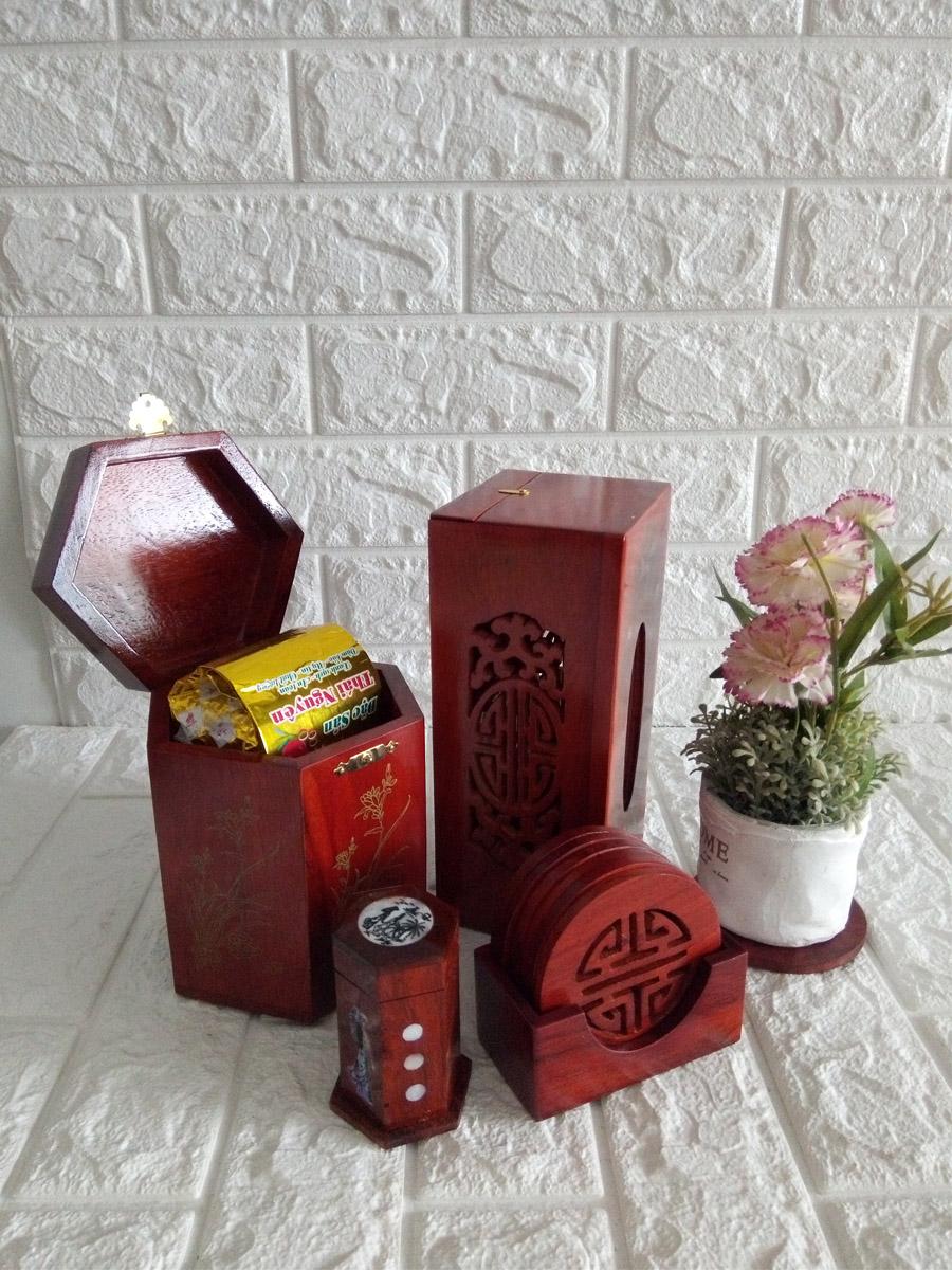 Bộ bốn món tiện ích hộp trà lớn,hộp khăn giấy chữ nhật ,lót ly khảm,hộp tăm-4MLL01