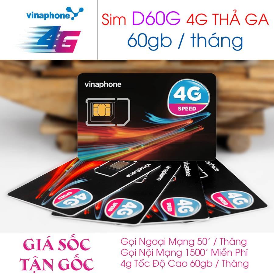 SIM 4G D60G VINA TRỌN GÓI 1 NĂM - 2GB/NGÀY