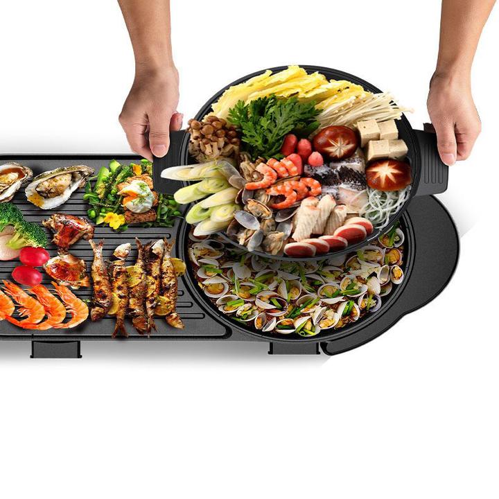 Bếp lẩu nướng 2 trong 1 chống dính cao cấp EB-8602 công suất 2200W tích hợp 5 mức điều chỉnh nhiệt