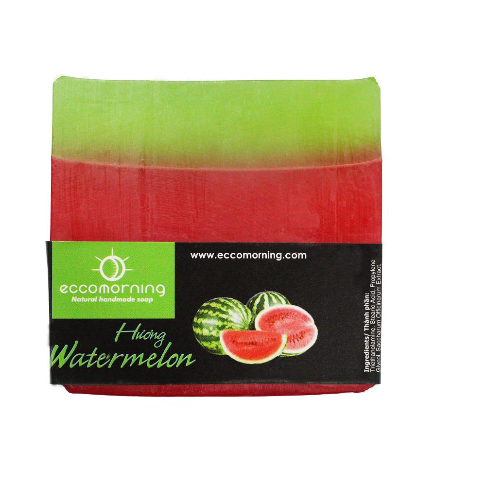 Xà Bông Thiên Nhiên Handmade eccomorning Hình Vuông Hương Dưa Hấu - Watermelon Soap
