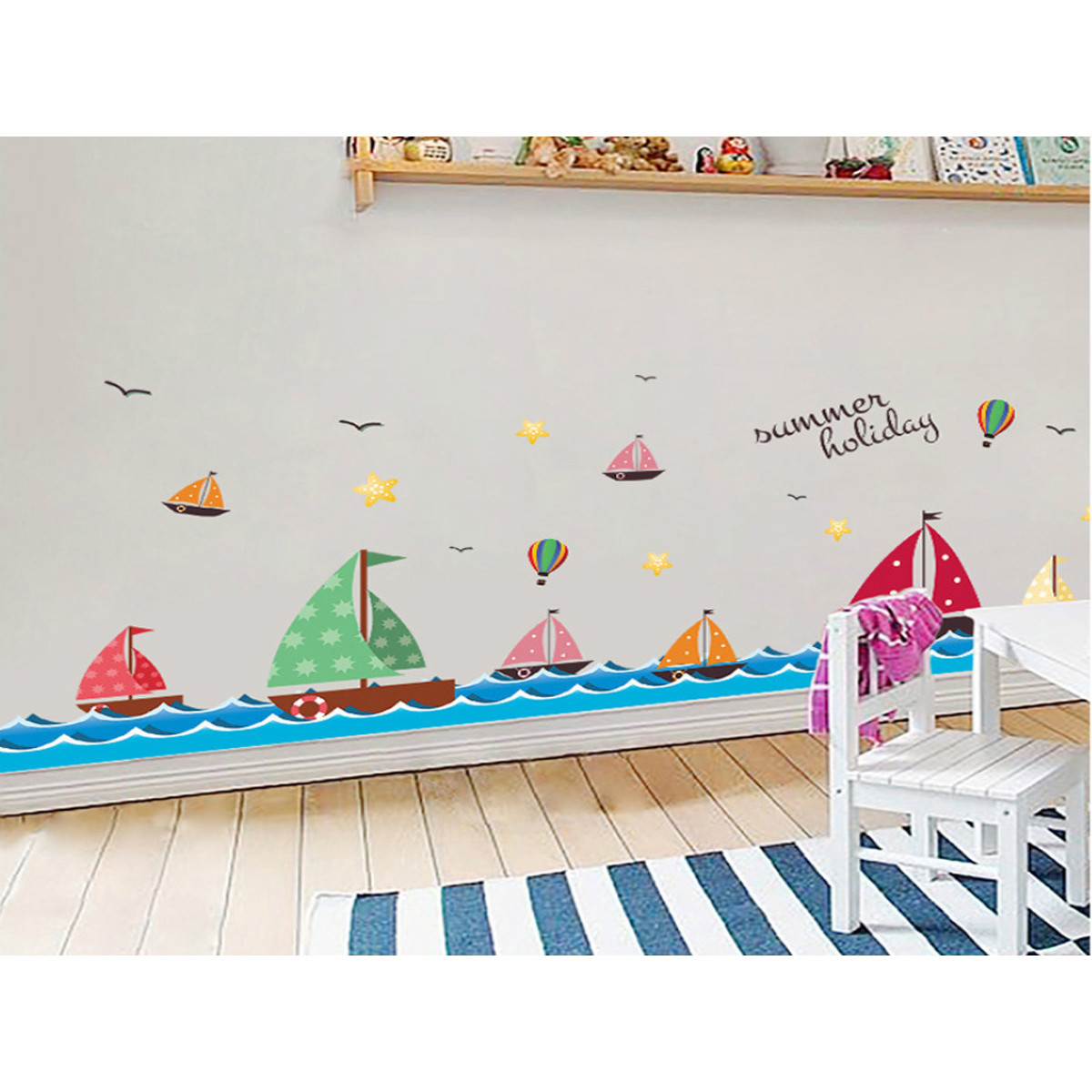decal dán tường chân tường thuyền buồm xl7176